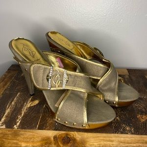 Baby Phat Gold High Heel Sandals Size 9